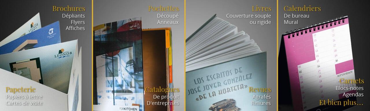 brochures, dépliants, pochettes, libres à couverture souple, livres cartonnés, calendriers, catalogues, revues, carnets, agendas et bien plus